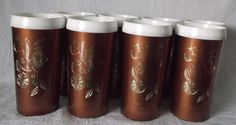 Vintage Insulated #Tumblers SET Copper White Gold Fruit USA Made Plastic Glasses #kitchenware