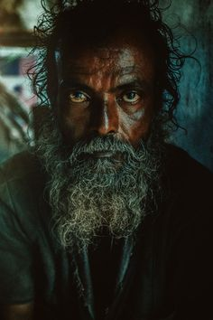 Portrait of a homeless man from the Streets of Mumbai.