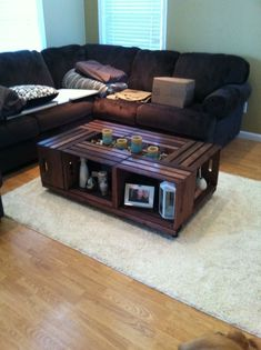 Did the Pinterest crate coffee table with a twist, instead of using only 4 crates I used 6 so it wasn't so small against my huge couch, love how it turned out!