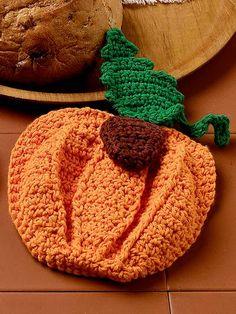 Crochet - Kitchen Patterns - Pot Holder Patterns - Pumpkin Potholder