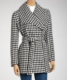 Take a look at this Black & White Houndstooth Wrap Coat by Joy Mark on #zulily today!