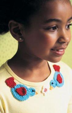 Bird & Flower Appliques Crochet Pattern. http://www.redheart.com/free-patterns/bird-flower-appliques