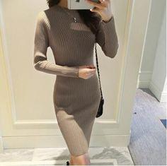 2016 Spring Autumn Winter Women Dress Slim S-Line Medium Style Knitted Dress Basic Solid Half Turtleneck Sweater Dress