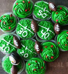 cupcake ideas for super bowl, football party- more at blovelyevents.com
