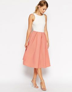 Cool Midi dress by ASOS Collection Soft touch ponte Jersey bodice Round neckline Ribbed pleated skirt Low v back Zip back fastening Fit and flare style Regular