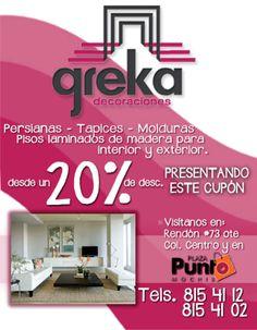 GREKA Decoraciones - Conoce lo mejor del diseño para tu espacio! Aprovecha este fabuloso descuento del 20%!