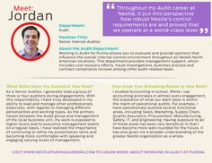 Meet Jordan, a Senior Internal Auditor. Click the link below for more on what it's like working in the Audit department at Purina. https://www.nestlepurinacareers.com/blog/associate-spotlights/meet-jordan-h/