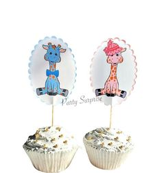 Giraffe Cupcake Toppers Pink Giraffe Blue Giraffe Toppers Boy Girl Baby Shower Birthday Safari Party Cupcake Toppers Custom Hand Made by PartySurprise on Etsy Safari Party Decorations, Safari Theme Party, Birthday Decorations, Giraffe Cupcakes, Safari Cupcakes, Boys 1st Birthday Cake, 1st Birthday Balloons, Giraffe Decor, Pink Giraffe