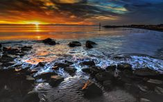 Sunset over south arm of the Fraser River in Richmond, British Columbia, CANADA