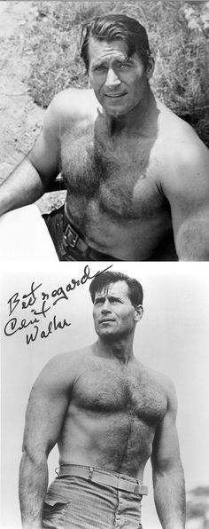 """Clint Walker - what a physique.  Height 6'6"""", 48"""" chest, 32"""" waist.  Was once in a skiing accident which impaled a ski pole close to his heart."""