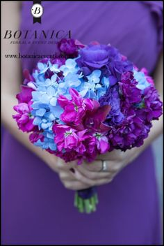 #purple_and_blue_bouquets #blue_flowers #purple_flowers #bridesmaid_bouquet