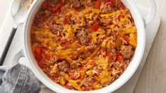 Cazuela de pimiento relleno con carne molida y arroz Get the taste of stuffed peppers without the fuss by making this easy casserole. Stuffed Pepper Casserole, Stuffed Peppers, Orzo, Cassoulet, Dinner With Ground Beef, Poblano, Cooking Recipes, Healthy Recipes, Pork Recipes