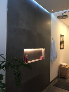Fantastic Snap Shots Bathroom Lighting led Popular The toilet is just a space with many functions, from grooming to relaxing, but bathroom lighting des Bathroom Niche, Shower Niche, Bathroom Colors, Half Wall Shower, Window In Shower, Indirect Lighting, Strip Lighting, Shower Lighting, Bathroom Lighting