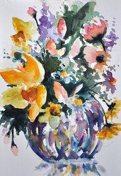 Acuarela ORIGINAL naturaleza muerta Floral pintura primavera
