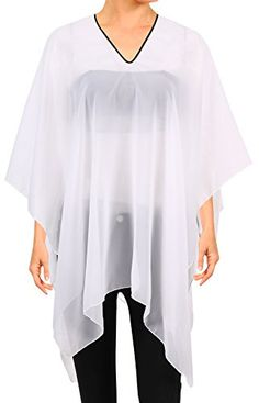 Simplicity Womens Sheer Chiffon Caftan Wrap Poncho Tunic TopWhite ** Be sure to check out this awesome product.