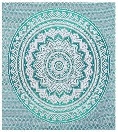 Indian Green Hippie Mandala Bohemian Psychedelic Handmade Queen Tapestry