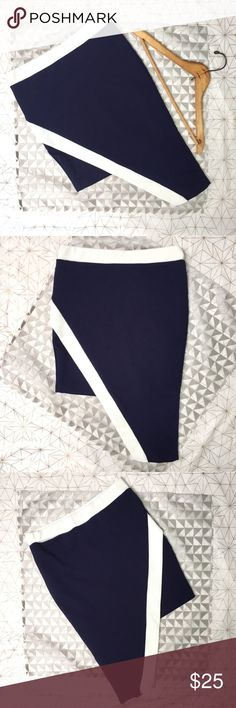 """Blue & white modern chic asymmetrical skirt - Size: L - Condition: Excellent condition. Used item, inspected for quality. Any wear or use is shown in photos - Color: navy blue and white  - Lined: no - Closure: none, material is stretchy - Style: nautical blue and white modern asymmetrical skirt - D12  *Measurements:  Waist: 13.75"""" flat Hips: 15.5"""" flat Length shortest part: 17"""" Length longest part: 24.5""""  Bundling is fun, check out my other items! Home is smoke free. No trades, holds, or…"""