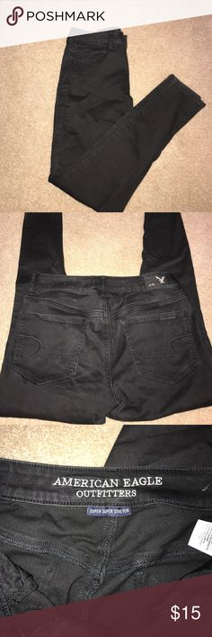 AEO Black (Short) Jeggings American Eagle Outiftters Black Skinny super stretch jegging in 8 short- minimal fading, good condition! American Eagle Outfitters Jeans Skinny