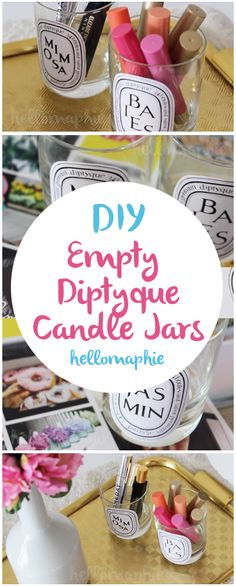 DIY Empty Diptyque Candle Jars  I wanted those candle jars for so long but I could't spend $60 in a candle,  just to have the empty jar as part of my decor, that's just insane!  So I made them myself and it was very simple and looks awesome in my makeup collection.  I have a tutorial on how to make them and the printable is on my blog! #diptyquecandles #diy #candlejars