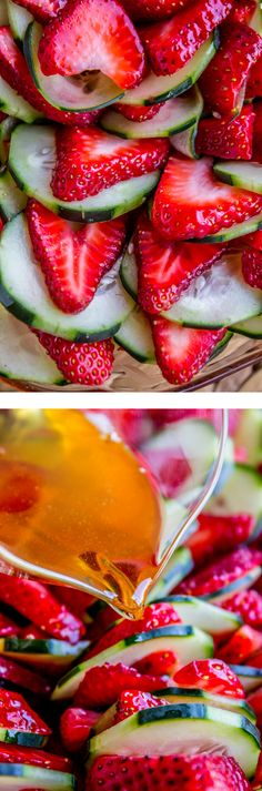 This 4 ingredient salad is a total show stopper! It really lets the strawberries and cucumbers shine. The other ingredients are balsamic vinegar and honey.