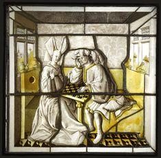 Chess-players. Stained Glass, c. 1425-50. Hôtel de la Bessée (Villefranche-sur-Saône - Lyonnaise). Musée de Cluny, Cl. 23422