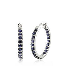 Loving this Blue Lab-Created Sapphire & Sterling Silver Hoop Earrings on #zulily! #zulilyfinds