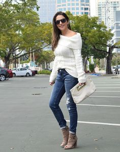 Adorable faux suede booties, off the shoulder sweater and distressed jeans for a fall outfit. Details on the blog.