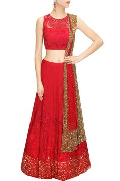 Carmine pink thread and sequins embroidered lehenga set available only at Pernia's Pop-Up Shop.