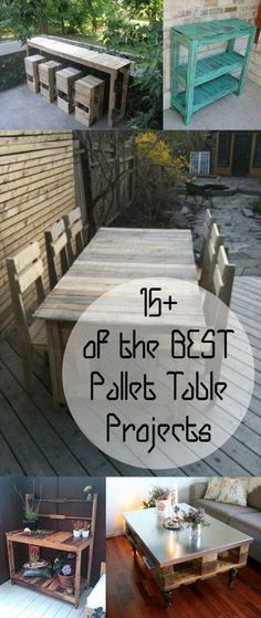 I really like the turquoise shelving/table!! | 15+ of the BEST Pallet Table Projects