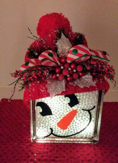 Lighted snowman glass block.  Decal from Etsy.