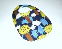 Baby Boy Bib   Woodland Bears  Blue and Brown  by pasqueflower