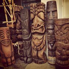 Tiki carvings Tiki Art, Tiki Tiki, Foam Carving, Tiki Dress, Tiki Statues, Tiki Totem, Fantasy Island, Deco, Mid Century