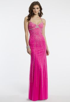 Camille La Vie Empire Halter Pink Prom Dress with Sparkle