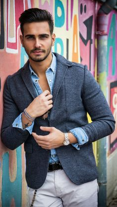Fall men's fashion style. Classy business casual outfit for autumn / fall. Featuring blazer, chinos, and a denim dres shirt.
