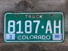 Colorado Truck License Plate Number 8187AH in Green with White Letters March 1995 Registration    #CoLicensePlate #Truck #Green #Colorado #GreenAndWhite #LicensePlate #GreenLicense #ColoradoTruck #ManCave