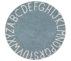 Blått gulvteppe med bokstaver, Lorena Canals
