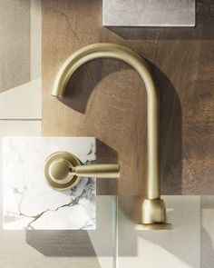 Manhattan by Brodware Brushed Nordic Brass PVD bathroomtapware Brushed Brass Kitchen Faucet, Brass Tap, Kitchen Taps, Solid Brass, Bathroom Tapware, Modern Bathroom Faucets, Bronze Bathroom, Bathrooms, Mood Board Interior