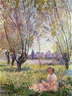 Woman Sitting Under The Willows Artwork By Claude Oscar Monet Oil Painting & Art Prints On Canvas For Sale Monet Paintings, Impressionist Paintings, Landscape Paintings, Claude Monet, National Gallery Of Art, National Art, Art Gallery, Garden Painting, Oil Painting Reproductions