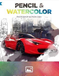 Pencil & Watercolor Photoshop Action CS6+