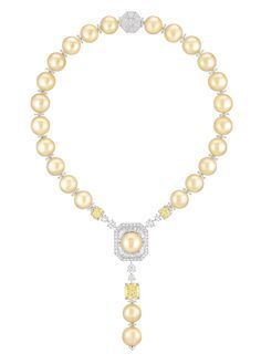 """Chanel - Les Perles de Chanel - """"Perles Royales"""" necklace in white gold and platinum, set with three cushion-cut yellow diamonds, brilliant-cut diamonds, baguette-cut diamonds and 25 South Sea cultured pearls."""
