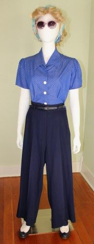 Vintage 1940s pants and blouse by Wearing History Clothing