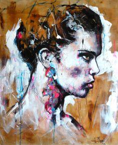 Portrait T127 A crylique & fusain sur toile 100x80cm http://www.lucile.callegari.fr