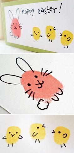 Easter bunny and chick fingerprint craft easter crafts for kids, easter projects, bunny crafts Easter Crafts For Toddlers, Easter Arts And Crafts, Spring Crafts For Kids, Bunny Crafts, Easter Projects, Art Projects, Preschool Easter Crafts, Lathe Projects, Kindergarten Crafts