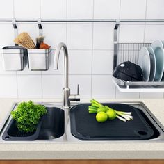 Extend your kitchen workspace by placing a chopping board over the sink. Featured Products • DOMSJÖ • BREDSKÄR • BOHOLMEN