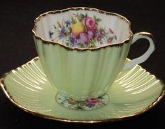 EB Foley LIME BRUSH GOLD FLORA HARVEST FRUIT Tea cup and saucer
