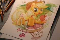 Apricot Mantle draws My Little Ponies too! Here is a sketch of Apple Jack he drew for IDW Comics.