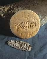 Roman bread stamp from Caerleon. The Romans knew several kinds of bread. Mostly these breads were made with sourdough. The bread could be made of wheat, spelt, barley, millet, rice even ground pulses. Ingredients-