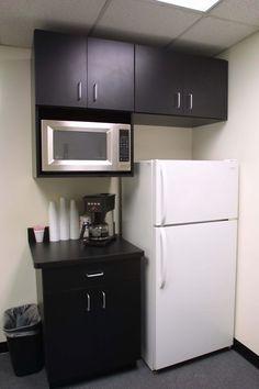 "Break Room. Designer is Ken Papa Dimensions = Base cabinets 32 1/2"" tall x 24"" deep, uppers 30 1/2"" tall x 13"" deep counter tops 25 1/2"" deep"
