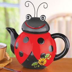 Loveable Ladybug Ceramic Kitchen Teapot Hand-Painted Dolomite Red Black