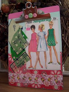 Altered Art Collage Clipboard Vintage Sewing Pattern